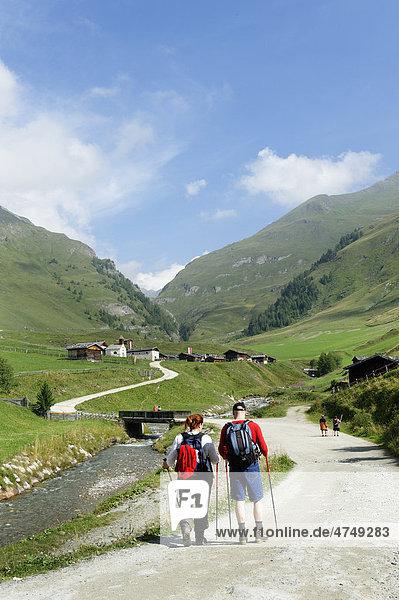 Wanderer  Bergsteiger auf der Fanealm  Fane Alm  Valsertal  Pustertal  Pfunderer Berge  Südtirol  Italien  Europa