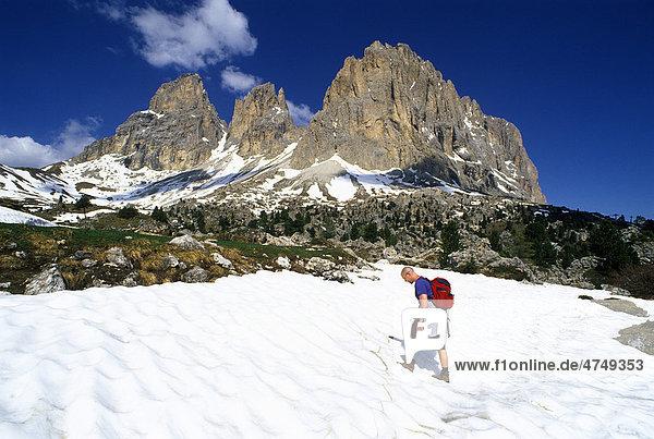 Langkofel Mountain seen from the City of Stones  Sella Pass  Dolomites  Alto Adige  Italy  Europe