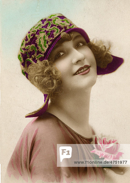 Woman wearing hat  historical fashion photograph from 1905