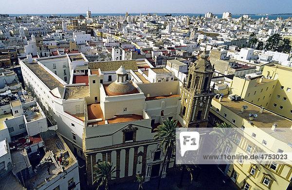 Historic district of C·diz from Torre Poniente  Costa de la Luz  Andalusia  Spain  Europe