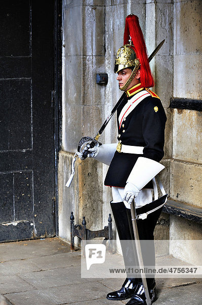 One of the Horse Guards in Whitehall  London  England  United Kingdom  Europe