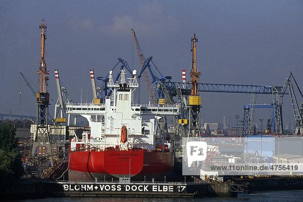 Dock der Werft Blohm und Voss im Hafen von Hamburg  Deutschland  Europa