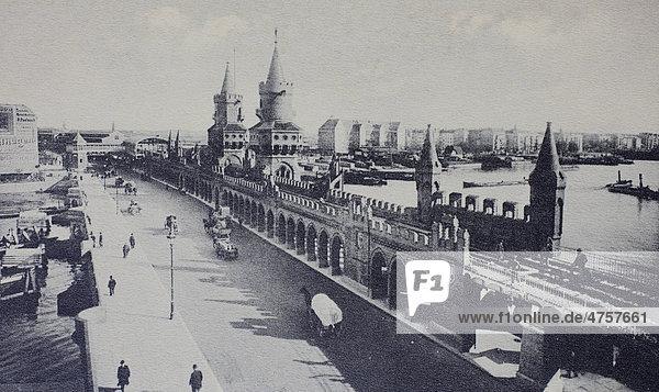 Oberbaumbruecke bridge  Berlin  Germany  historical illustration  about 1899