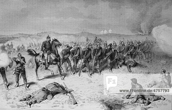 Die preußische Garde in der Schlacht bei Sedan  Frankreich  historische Illustration  Illustrierte Kriegschronik 1870 - 1871  Deutsch-französischer Feldzug