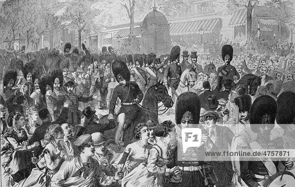 Abmarsch der Gardegrenadiere von Paris  historische Illustration  Illustrierte Kriegschronik 1870 - 1871  Deutsch-französischer Feldzug