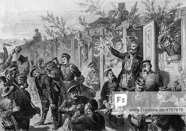 Ankunft des 17. Infanterieregimentes an der Wasserstation in Düsseldorf  historische Illustration  Illustrierte Kriegschronik 1870 - 1871  Deutsch-französischer Feldzug