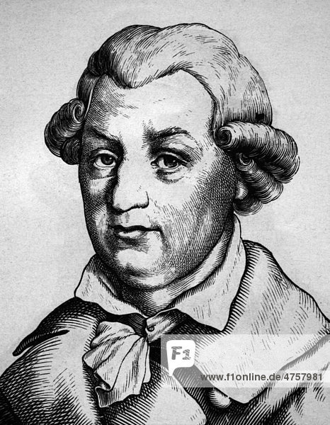 Johann Karl August Musäus  1735 - 1787  Porträt  historische Illustration  1880