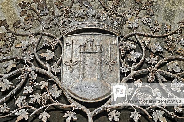 Wappen  Torre Abacial  Turm  Laguardia  Logrono  La Rioja  Spanien  Europa