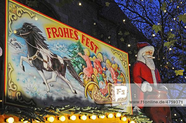 Frohes Fest  Schlitten  Nikolaus  Weihnachtsdekoration  Weihnachtsmarkt  Dortmund  Ruhrgebiet  Nordrhein-Westfalen  Deutschland  Europa Frohes Fest, Schlitten, Nikolaus, Weihnachtsdekoration, Weihnachtsmarkt, Dortmund, Ruhrgebiet, Nordrhein-Westfalen, Deutschland, Europa