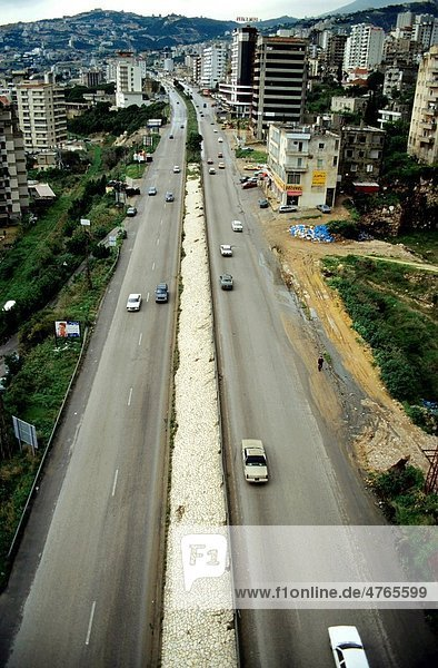 Cars travelling on a highway  Jounieh  Beirut  Lebanon