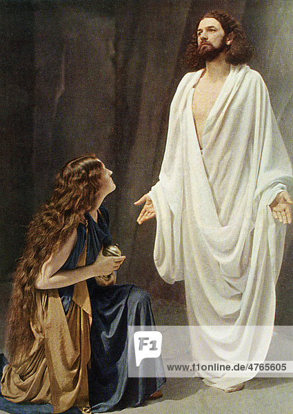 Jesus and Mary Magdalene  colour post card from a Uvatypie template  Oberammergau Passion Play 1930  Upper Bavaria  Bavaria  Germany  Europe