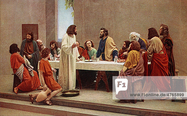 Last Supper  colour post card from a Uvatypie template  Oberammergau Passion Play 1930  Upper Bavaria  Bavaria  Germany  Europe
