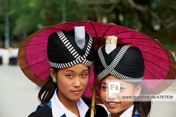 Laos  Province of Luang Prabang  city of Luang Prabang  World heritage of UNESCO since 1995  Lao New year festival  Hmong ethnic groupe  young woman in traditionnal dress