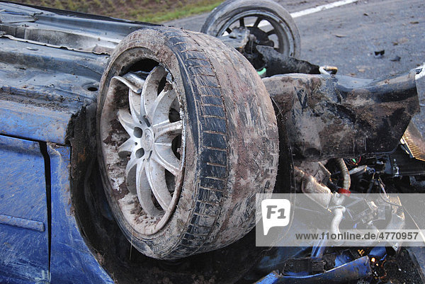 Severe accident on the B14 road  the tires of the car were almost blank  Waiblingen  Baden-Wuerttemberg  Germany  Europe