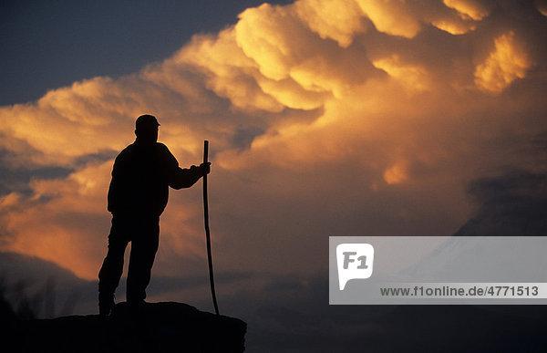 Hirte betrachtet spektakulären Sonnenaufgang über dem fernen Gipfel des Annapurna 1  Manang  Nepal  Südasien
