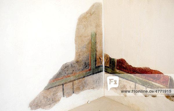 Reste von Fresken in der Kanzlei des Kommandanten  Nationalpark Masada  Judäa  Israel  Naher Osten  Vorderasien