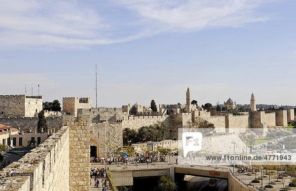 City walls of Jerusalem at Jaffa Gate  Israel  Middle East  Southwest Asia