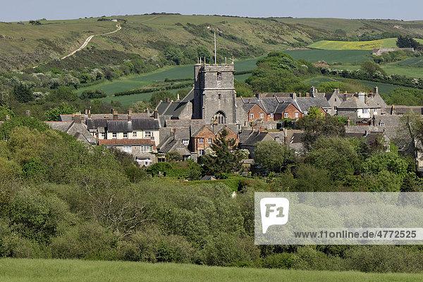 Corfe Castle Village  Dorset  Südengland  England  Vereinigtes Königreich  Europa