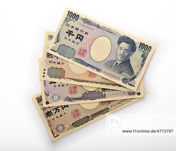Japanische Yen Währung Japan  Banknoten  Geldscheine  Fächer