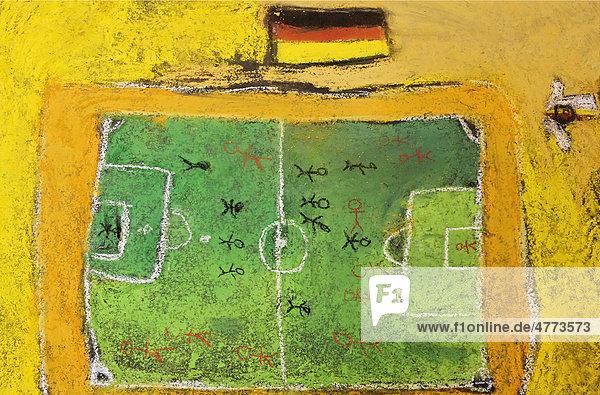 Fußballfeld mit Deutschlandfahne  Kreide-Kinderzeichnung  auf den Boden gemalt  Deutschland  Europa
