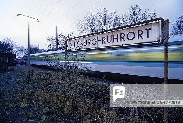 Verwilderter Bahnsteig  Zug fährt vorbei  S-Bahn-Station Duisburg-Ruhrort  Nordrhein-Westfalen  Deutschland  Europa Verwilderter Bahnsteig, Zug fährt vorbei, S-Bahn-Station Duisburg-Ruhrort, Nordrhein-Westfalen, Deutschland, Europa