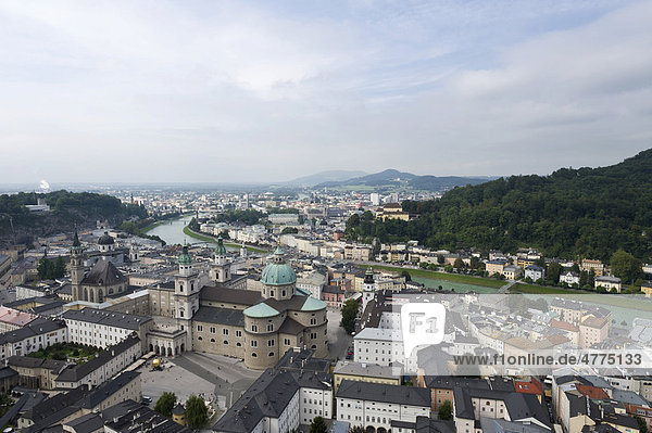 View from Hohensalzburg Castle towards the north over Salzburg  Austria  Europe