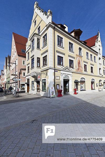 Altstadt Mindelheim  Maximilianstraße  Schwaben  Landkreis Unterallgäu  Bayern  Deutschland  Europa