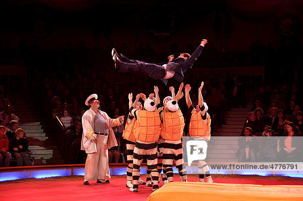 Clown Hector Rossi of Les Rossyann with the acrobatic circus troupe  Troupe Mayorov  Circus Krone  Munich  Bavaria  Germany  Europe
