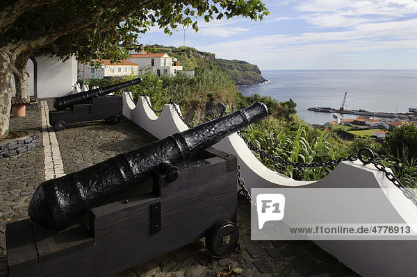 Cannon in Lajes on the island of Flores  Azores  Portugal