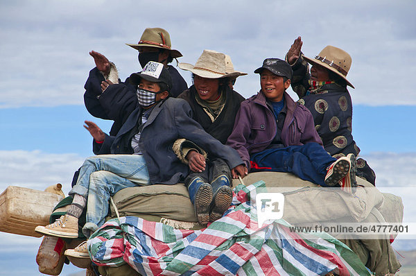 Pilgrims on a tractor  West Tibet  Tibet  Central Asia