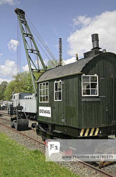 Ein Demag Dampfkran von 1927  Deutsches Dampflok-Museum  Neuenmarkt  Franken  Bayern  Deutschland  Europa