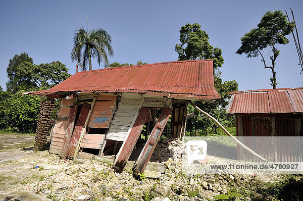 A traditional half-timbered house that was completely destroyed by the January 2010 earthquake  Jacmel  Haiti  Caribbean  Central America