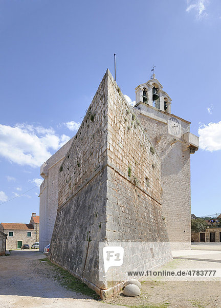 Festungskirche Sveta Marija  Vrboska  Insel Hvar  Kroatien  Europa