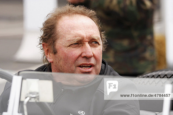 Jochen Mass  official driver for the classic cars of the Mercedes Benz Museum  Eifelrennen 2008 race  Nurburgring race track  Rhineland-Palatinate  Germany  Europe