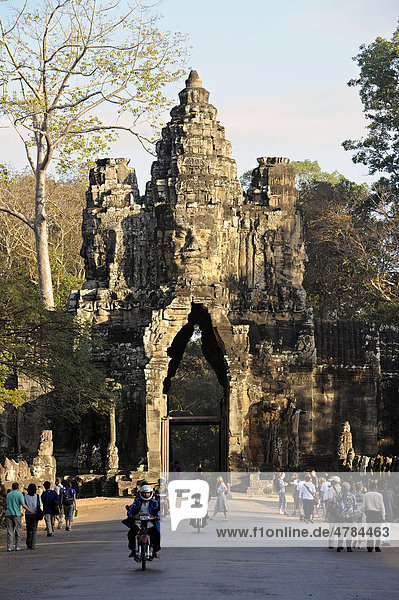 Gopuram  south gate of Angkor Thom with the face of Bodhisattva Lokeshvara carved in stone  Angkor  UNESCO World Heritage Site  Siem Reap  Cambodia  Southeast Asia  Asia