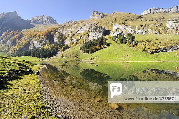 Blick über den 1143 Meter hoch gelegenen Seealpsee  Kanton Appenzell-Innerrhoden  Schweiz  Europa