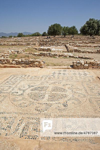 Antikes Mosaik in der Ausgrabungsstaette Olynthos auf der Halbinsel Chalkidiki  Makedonien  Griechenland  Europa