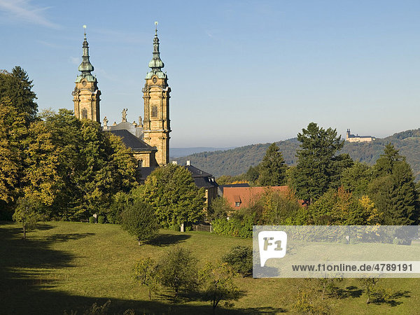 Basilika Vierzehnheiligen Wallfahrtskirche und Kloster Banz  Oberes Maintal  Franken  Bayern  Deutschland  Europa