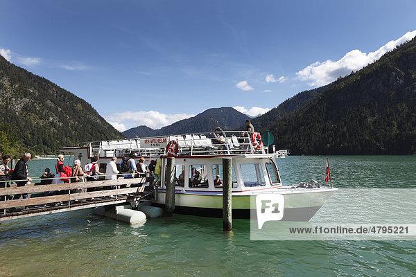 Motor vessel MS Wilhelm  Plansee lake  Ammergau Alps  Tyrol  Austria  Europe