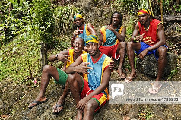 Divers at Annandale Falls  St. George  Grenada  Lesser Antilles  Caribbean