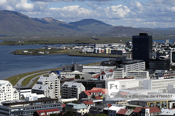 View of Reykjavik from the tower of HallgrÌmskirkja church  Iceland  Europe