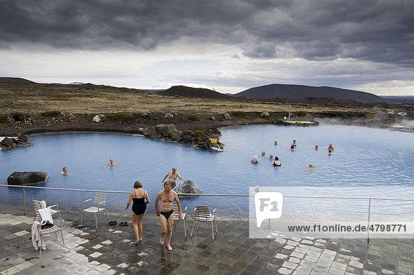 Geothermische heiße Quelle  Reykjahlid  Island  Europa
