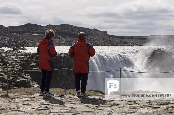 Tourists at Dettifoss waterfall  Iceland  Europe