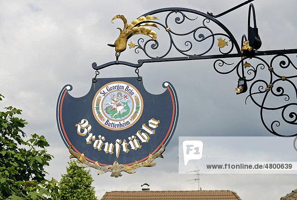 Wirtshausschild an der St. Georgen Brauerei  Wirtshaus  Buttenheim  Franken  Bayern  Deutschland  Europa