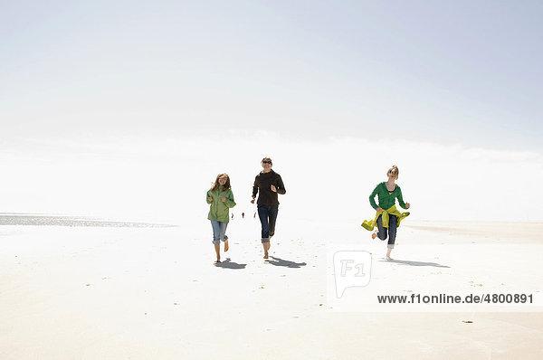 Frau und zwei Kinder laufen am Strand von Amrum  Schleswig-Holstein  Deutschland  Europa