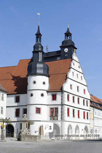 Market square with town hall  Hildburghausen  Thuringia  Germany  Europe