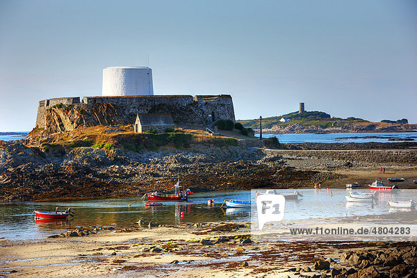 Fort Grey  now a museum  boats lying dry on the seabed at low tide  Rocquaine Bay  Guernsey  Channel Islands  Europe
