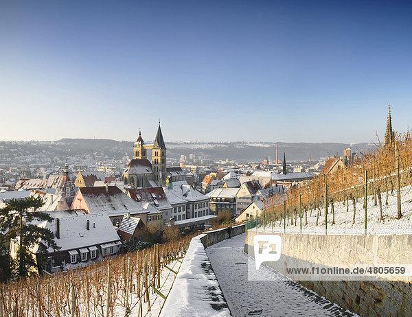 The historic district of Esslingen in winter  Esslingen am Neckar  Baden-Wuerttemberg  Germany  Europe