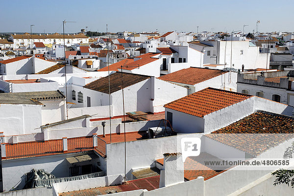 View over the roofs in the old town of Cartaya  Costa de la Luz  Huelva region  Andalucia  Spain  Europe