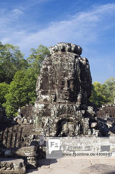 Stone face of Bodhisattva Lokeshvara  Bayon Temple  Angkor temples  Siem Reap  Cambodia  Indochina  Southeast Asia